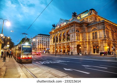 VIENNA - OCTOBER 20: Vienna State Opera at night on October 19, 2014 in Vienna. It's an opera house �¢?? and opera company �¢?? with a history dating back to the mid-19th century.