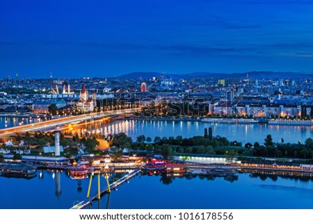 Vienna Panoramic At Night, cityscape with danube river