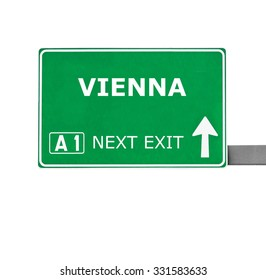 VIENNA road sign isolated on white