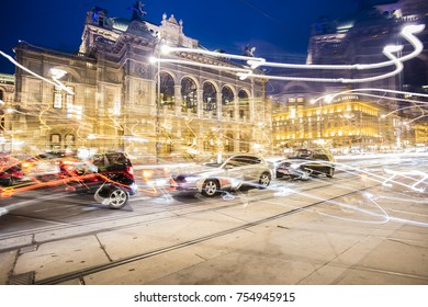 Vienna 's State Opera House at night and trace from night traffic Austria. 6 November 2017