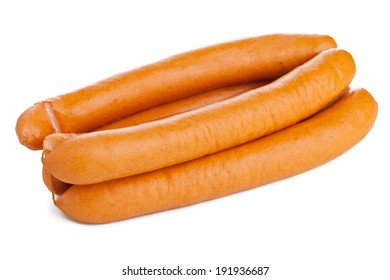 "Vienna sausages (""Wiener W�¼rstchen"" or ""Frankfurter"") on white background"