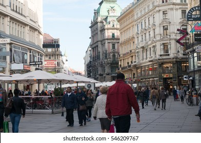 VIENNA - SEPTEMBER 25: People walking around Graben on September 25, 2016 in Vienna. This street is one of the most famous streets in Vienna's first district.