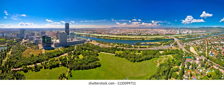 Vienna skyline and cityscape aerial panoramic view, capital of Austria