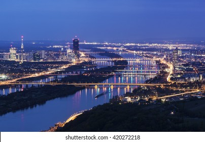 Vienna skyline and Danube River. Vienna, Austria.
