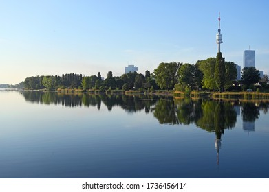 Vienna skyline on the Danube river in the morning Austria