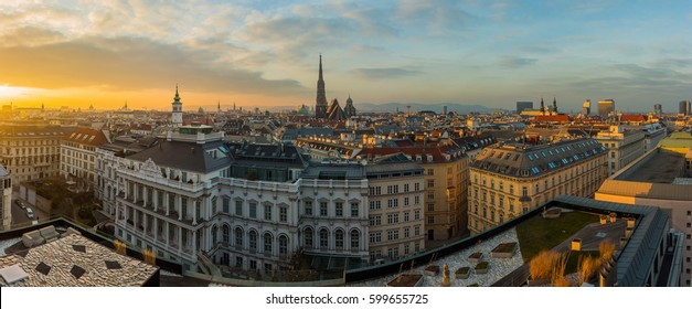 Vienna skyline panorama at sunset