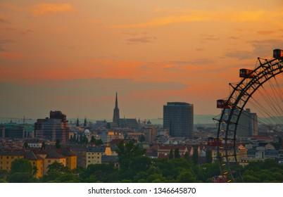 vienna skyline at sunrise in sommer