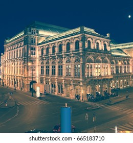 Vienna Staatsoper (State Opera). Vintage stylized colors.