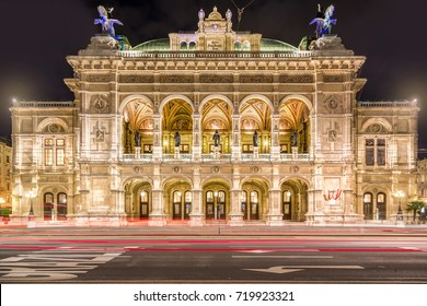 Vienna State Opera at night, Vienna, Austria