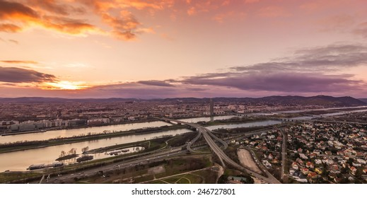 Vienna at sunset, looking north-west towards Millennium Tower, Kahlenberg and Leopoldsberg.