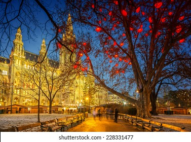 Vienna Town Hall at night