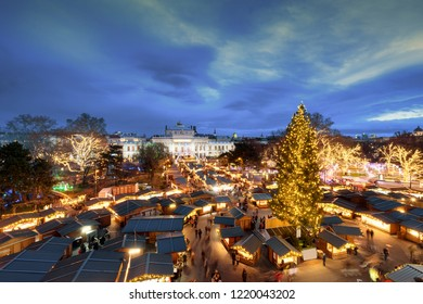 Vienna traditional Christmas market in front of the city hall aerial view