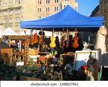 Vienna travel, Austria- March 2012, Naschmarkt, interesting things like violins and sculptures on sale in flea market