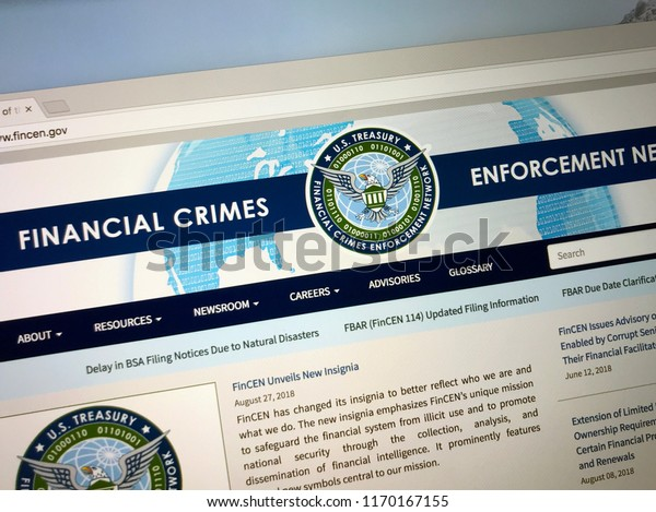 Vienna, Virginia, United States - September 2, 2018: Website of The Financial Crimes Enforcement Network or FinCEN, a bureau of the U.S. Department of the Treasury.