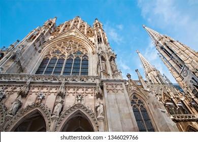 Vienna - The Votivkirche neo - gothic church from south.
