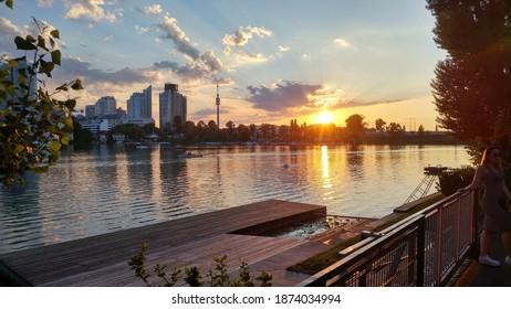 Vienna, Wien alte Donau at sunset - Shutterstock ID 1874034994