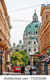 Vienna (Wien), Austria (Osterreich) - June 28, 2017 - Karlskirche (St. Charles's Church), a baroque church dedicated to Saint Charles Borromeo, located on the south side of Karlsplatz