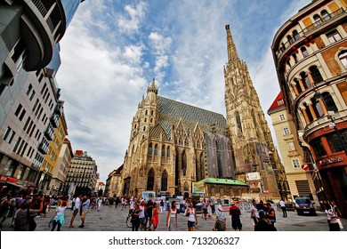 Vienna (Wien), Austria (Osterreich) - June 28, 2017 - Stephansplatz, a square at the geographical centre of Vienna, named from the Stephansdom