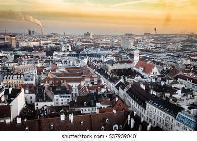 Vienna Wien Austria at sunset, aerial view from above the city
