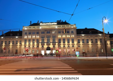 VIENNA,AUSTRIA- 18 MAY 2019:The Museumsquartier or MQ or Museums Quartier is an area in the centre of Vienna, Austria in blue hour time in evening