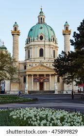 VIENNA/AUSTRIA - Apr 12,2012 : St. Charles's Church is one of the landmark in Vienna