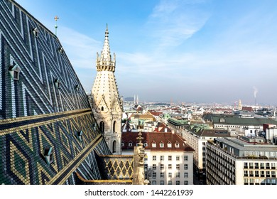 VIENNA,AUSTRIA - FEB 18, 2019: scenic view from St. Stephen's cathedral to city of vienna, Austria.