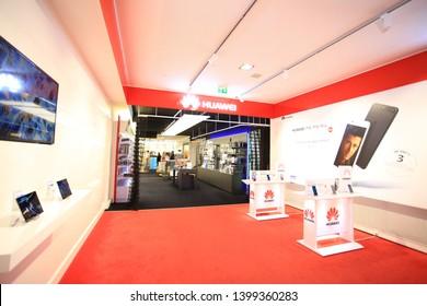 Vienna,Austria , February 5 2019: huawei flagship in vienna.Huawei Technologies, a China-based telecommunications equipment consumer electronics manufacturer, headquartered in Shenzhen