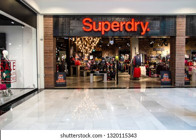Vienna/Austria - January 29, 2019: Superdry fashion brand store in Vienna's biggest shopping mall SCS. Superdry is a world famous UK based fashion brand combining American and Japanese clothes styles