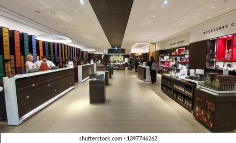 Vienna/Austria - May 13, 2019: Nespresso coffee brand boutique in Vienna`s biggest and most popular shopping mall SCS. The elite Swiss brand is worldwide famous for its coffee sold in metal capsules