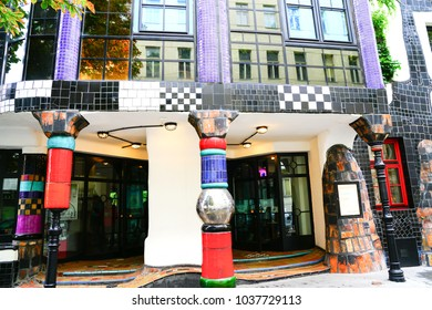 VIENNA,AUSTRIA - SEPTEMBER 3; Brightly colored multi-tiled artistic entrance to Hundertwasser Museum September 3 2017  Vienna Austria