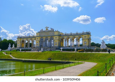 VIENNA,AUSTRIA - SEPTEMBER 4; Structure known as Gloriette in Schonbrunn Palace grounds comprising long portico with row of arches  surrounded by white marble statues September 4 2017 Vienna, Austria