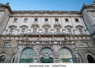 VIENNA,AUSTRIA-18 MAY 2019:The Museumsquartier or MQ or Museums Quartier is an area in the centre of Vienna, Austria in blue hour time in daily time