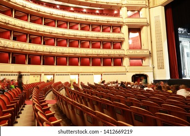 Vienna,Austria-20 may 2019: Interior hall  of the Vienna State Opera inside.