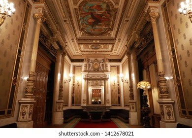 Vienna,Austria-20 may 2019: Opera House, the main hall inside.