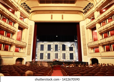 Vienna,Austria-20 may 2019: Stage and beautiful interior sits for the guests inside opera.Vienna State Opera inside.