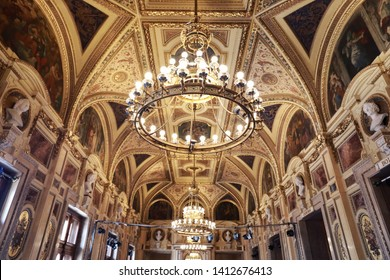 Vienna,Austria-20 may 2019: Vienna State Opera House, The Main Hall with luxury interior
