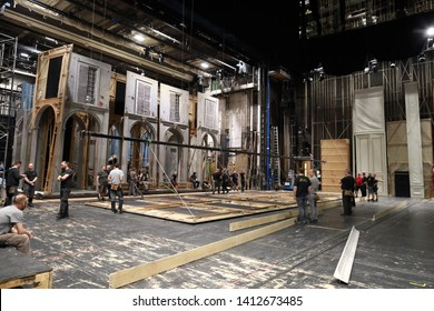 Vienna,Austria-20 may 2019:Backstage people preparing sats for show in Opera State Vienna.