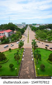Vientiane - August 17,2013 : a stunning view of Vientiane from the top of  Patuxai Monument  , triumphal Arches of Laos located in Vientiane, Laos.