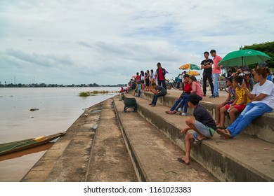 Vientiane Capital, Laos - August 20, 2018: Water in the Mekong River Height to Reach the Redline in Vientiane Capital as of August 20, 2018. Laotian were Came to See the Flooding.