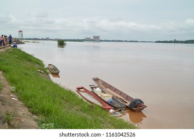 Vientiane Capital, Laos - August 20, 2018: Water in the Mekong River Height to Reach the Redline in Vientiane Capital as of August 20, 2018