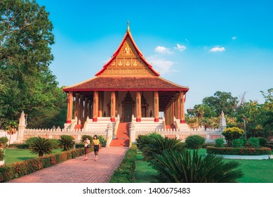 Vientiane / LAOS - APRIL 30 2019. Hor Pha keo (Haw Pha Kaew) Museum in Vientiane, Laos. Religious architecture and landmarks, Famous tourist destination in Asia. Laos landmark and travel.