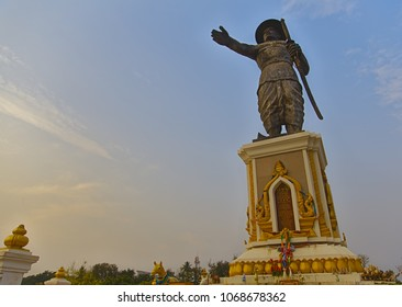 Vientiane / Laos - April 4, 2018: The giant statue of Lao king Chao Anouvong during the late afternoon hours.
