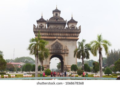 Vientiane / Laos - April 4, 2018: The Lao government commissioned the Patuxai memorial in 1957 to commemorate the dead in the independence struggle from France.