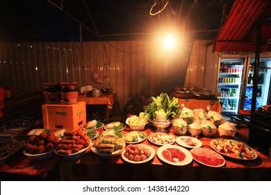 VIENTIANE, LAOS - AUGUST 08, 2015: Street food in night market at Laos