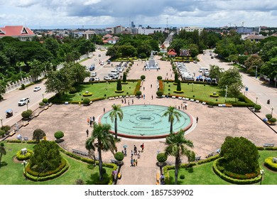 Vientiane, Laos – August 19, 2019: Patuxai Park is located next to the Patuxai war monument and is a popular tourist destination.