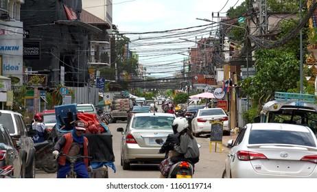 VIENTIANE,  LAOS - CIRCA AUGUST 2018 : Scenery of street in VIENTIANE.