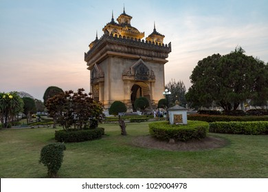 VientianeLaosFebruary 16, 2018The Patuxay Monument, known by the French as the Monument Aux Morts, built between 1957 and 1968 to commemorate the struggle for independence from the French.
