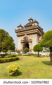 Vientiane Laos February 17, 2018 The Patuxay Monument, known by the French as the Monument Aux Morts, built to commemorate the struggle for independence from the French.