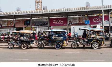 Vientiane, Laos - February 6, 2018: Tuktuks lined up in a row at Vientiane, Laos.