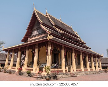 Vientiane, Laos - February 7,2018: Vat Sisaket in Vientiane, Laos, is famous for it's many Buddha statues.